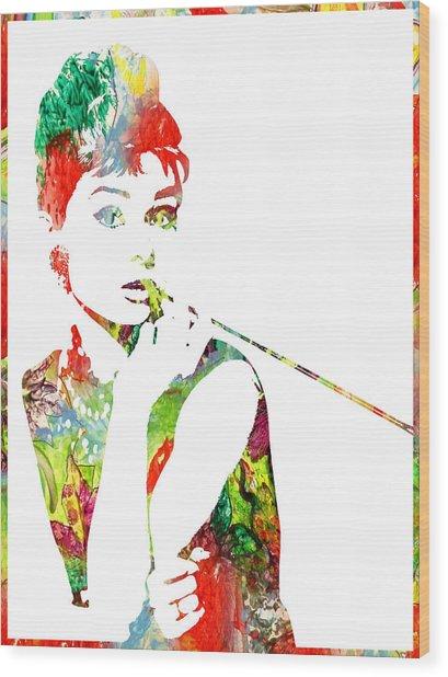 Audrey Hepburn - Watercolor Wood Print