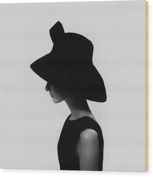 Audrey Hepburn Wearing A Givenchy Hat Wood Print