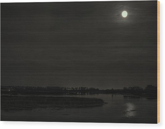 August Full Moon Over Lake Wausau Wood Print