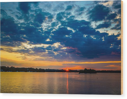 August Sunset Over Lake Nagawicka Wood Print