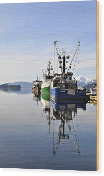 Auke Bay Reflection Wood Print