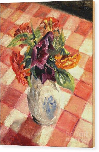 Aunt Alma's Flowers - 1944 Wood Print