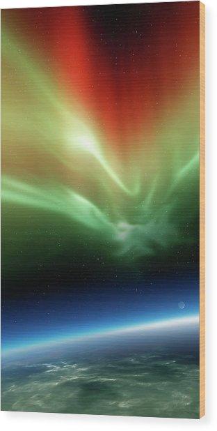 Aurora Borealis From Space Wood Print