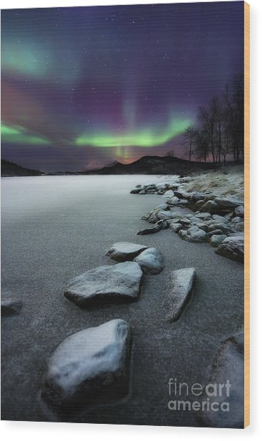 Wood Print featuring the photograph Aurora Borealis Over Sandvannet Lake by Arild Heitmann