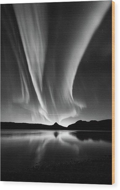 Aurora In B&w Wood Print