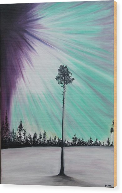 Aurora-oil Painting Wood Print by Rejeena Niaz