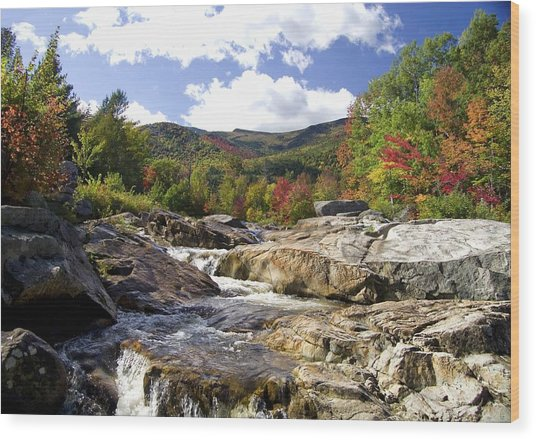 Ausable River Entering Flume Wood Print