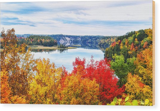 Ausable River In Autumn Wood Print
