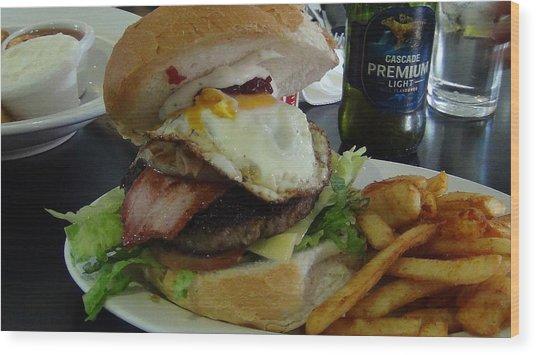 Aussi Burger Wood Print