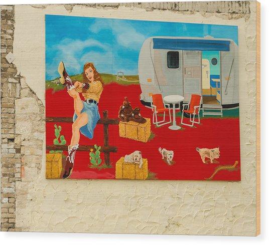 Austin - Camping Mural Wood Print