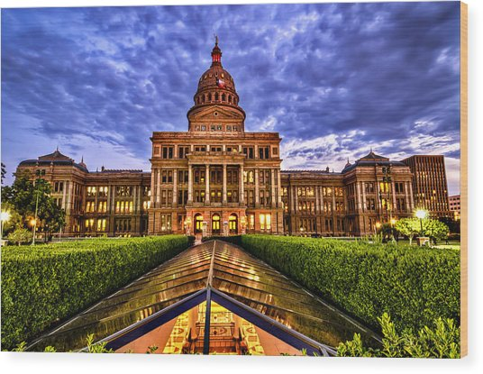 Austin Capitol At Sunset Wood Print