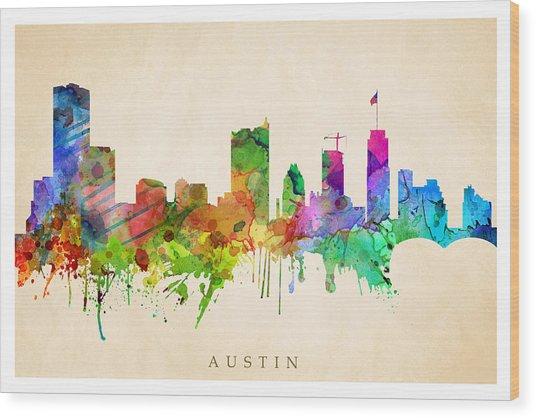 Austin Cityscape Wood Print