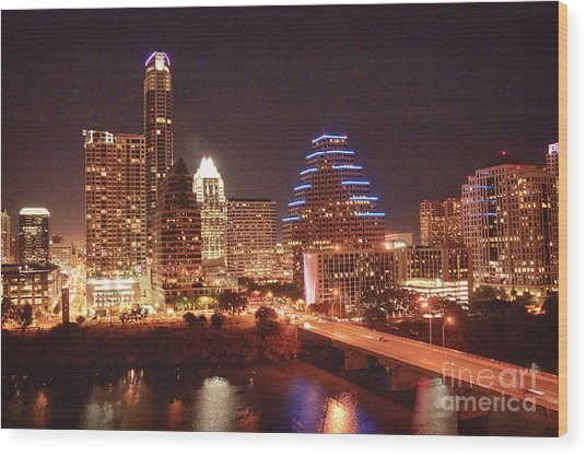 Austin Lights The Night Wood Print