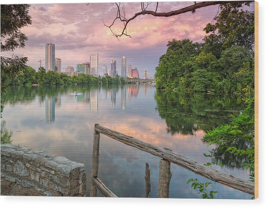 Austin Skyline From Lou Neff Point Wood Print