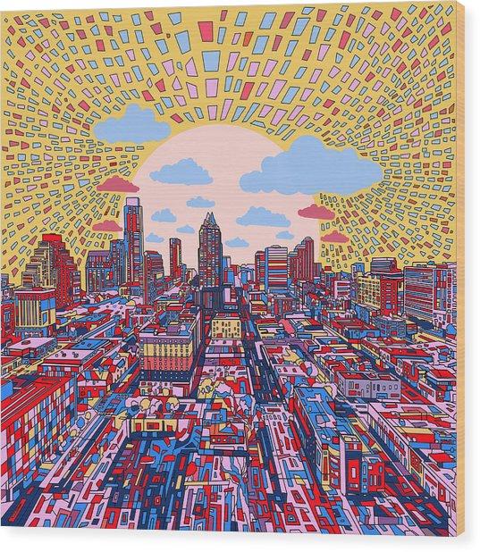 Austin Texas Abstract Panorama 2 Wood Print