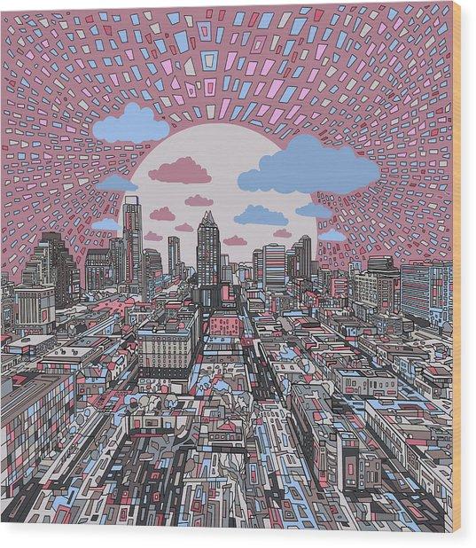 Austin Texas Abstract Panorama 3 Wood Print