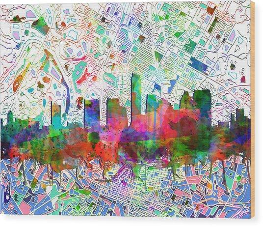 Austin Texas Abstract Panorama 7 Wood Print