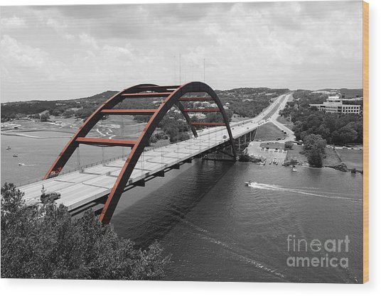 Austin Texas Pennybacker 360 Bridge Color Splash Black And White Wood Print