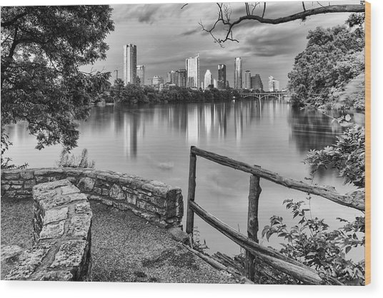 Austin Texas Skyline Lou Neff Point In Black And White Wood Print