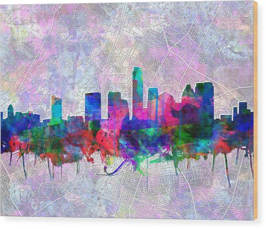 Austin Texas Skyline Watercolor 2 Wood Print
