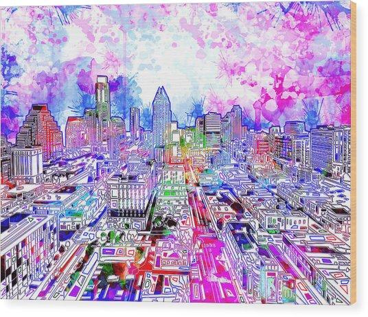 Austin Texas Watercolor Panorama Wood Print