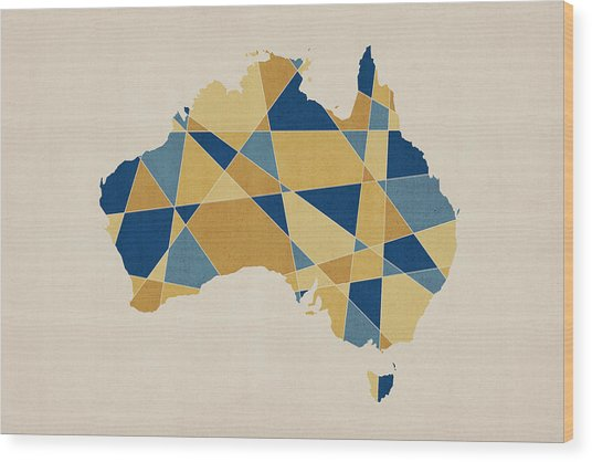 Australia Geometric Retro Map Wood Print