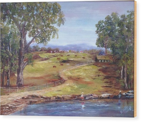 Australian Landscape Children Fishing Wood Print