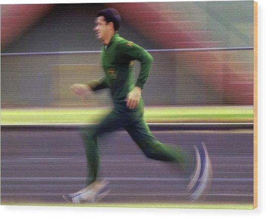 Australian Runner Ron Clarke Wood Print