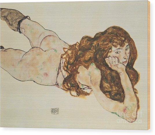 Austria Vienna Female Nude Lying On Her Stomach Wood Print