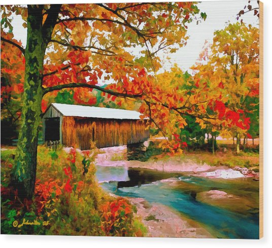 Authentic Covered Bridge Vt Wood Print