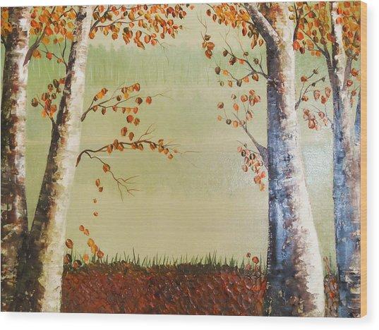 Autum On The Ema River  2 Wood Print