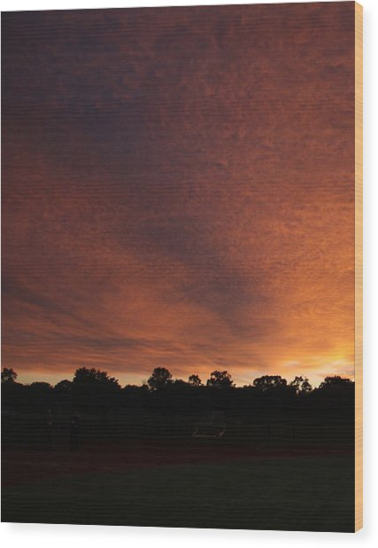 Autum Sunset Wood Print