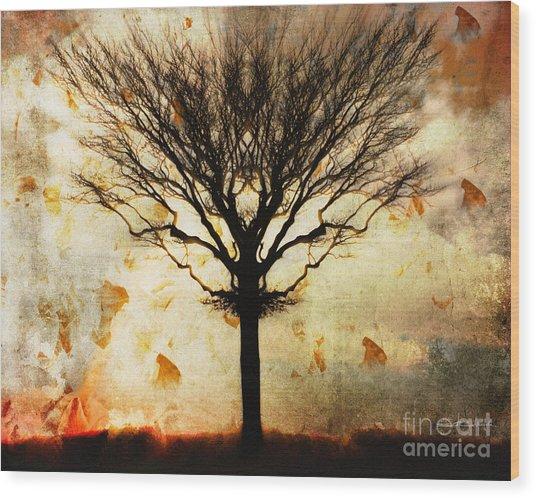 Autum Wind Wood Print