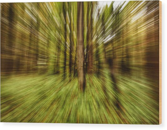 Autumn Abstract Wood Print by Kathi Isserman