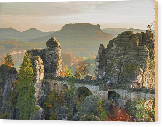 Autumn Afternoon On The Bastei Bridge Wood Print