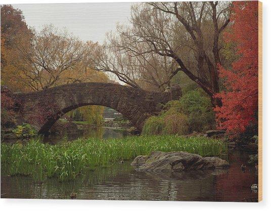 Autumn At Gapstow Bridge Wood Print