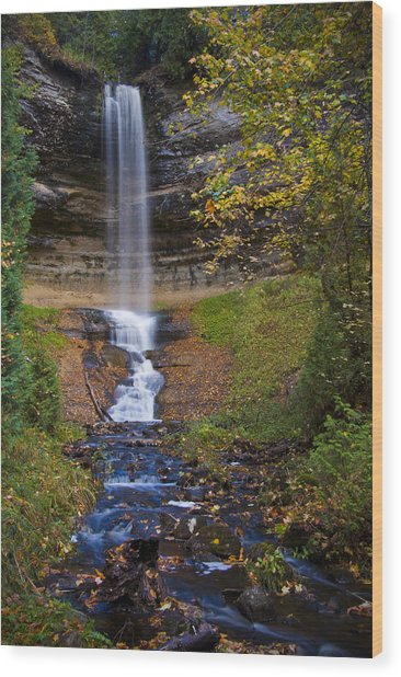 Autumn At Munising Falls Wood Print