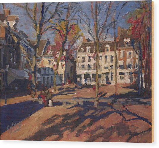Autumn At The Onze-lieve-vrouweplein Maastricht Wood Print