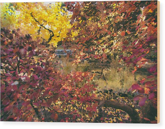 Autumn At The Park Wood Print