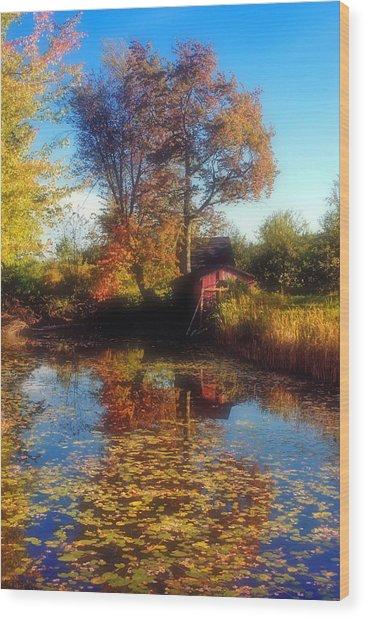 Autumn Barn Wood Print by Joann Vitali