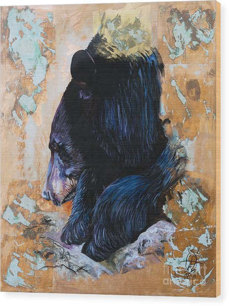 Autumn Bear Wood Print