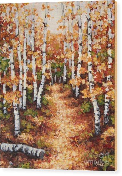 Autumn Birch Trail Wood Print