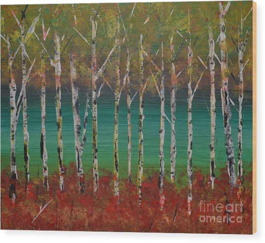 Autumn Birches Wood Print