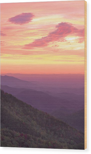 Autumn Blue Ridge Sunrise Wood Print