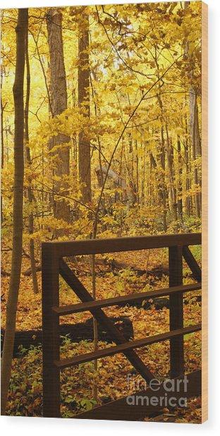 Autumn Bridge Iv Wood Print by Valerie Fuqua