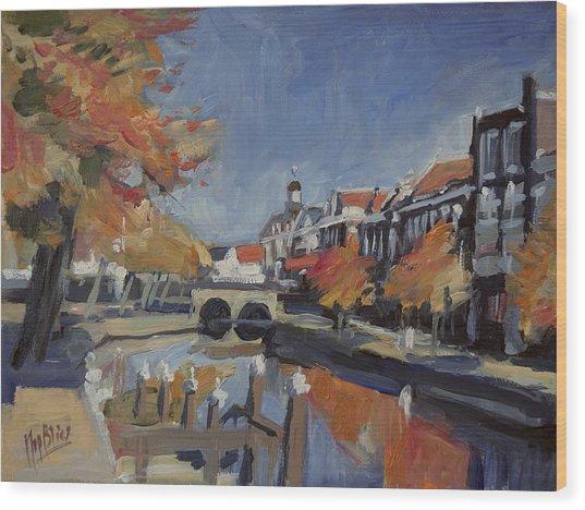 Autumn Canal Leiden Wood Print