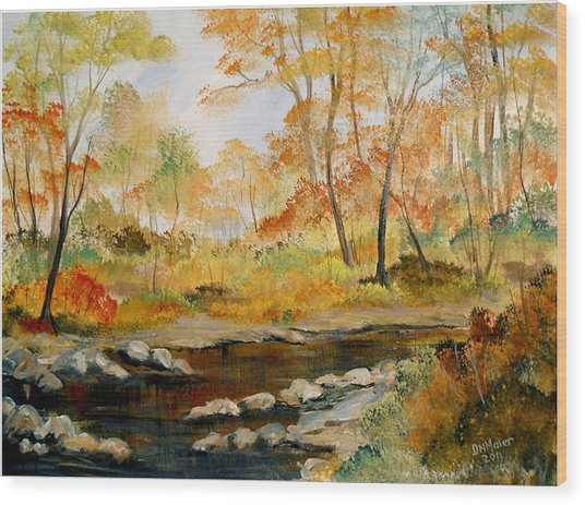 Autumn Colors By The River Wood Print