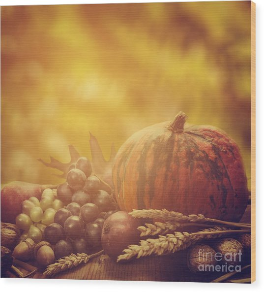 Autumn Concept Wood Print