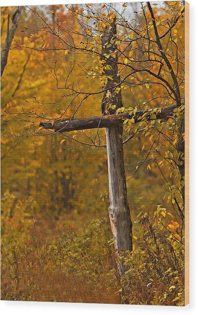 Autumn Cross Wood Print