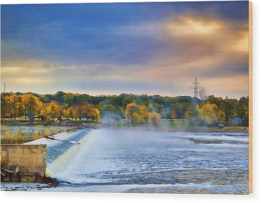 Autumn Dam Wood Print by Troy Schopp